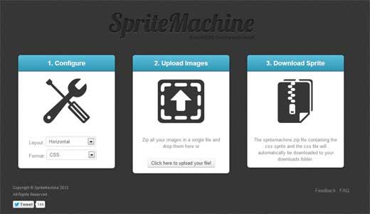 画像をZIPにまとめてアップロードするとCSSスプライト用の画像とCSSを生成してくれるサービス「SpriteMachine」