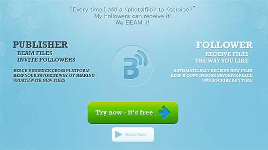 異なるサービス間でも手軽に共有フォルダが作成できる「iBeam.it」