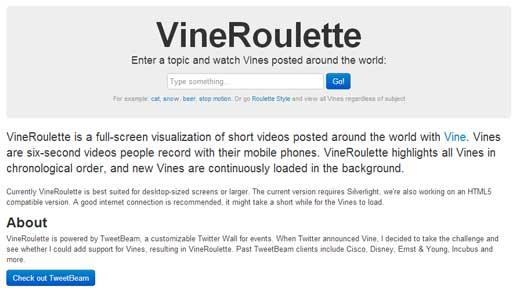 タグ指定をしてVineに投稿された動画を再生するサービス「VineRoulette」