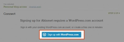 Sign up with WordPress.com