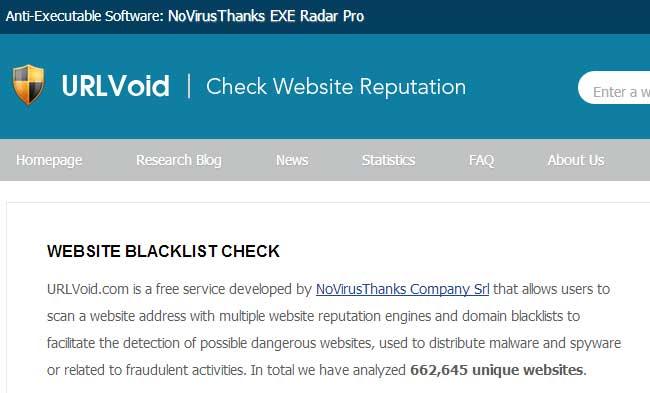 サイトがマルウェアに感染していないかチェックすることができる「URL Void」