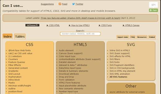 CSS3やHTML5のブラウザ対応状況を確認できる「Can I use…」
