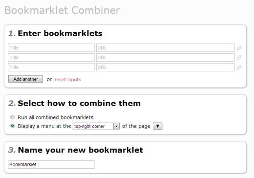 複数のブックマークレットを一つにまとめることができる「Bookmarklet Combiner」