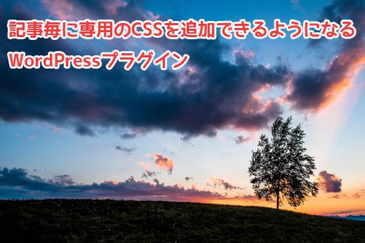 記事毎に専用のCSSを追加できるようになるWordPressプラグイン「add-css-to-post」