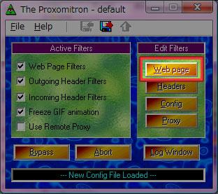 「Edit Filters」の中から [Web page] をクリックします。