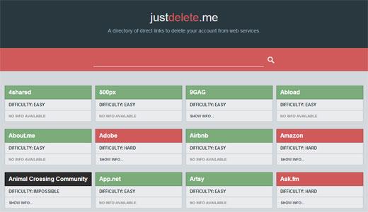 色んなWEBサービスの退会ページURLと難易度がわかる「Just Delete Me」