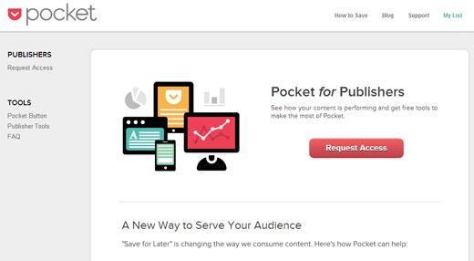 Pocketされた数の多い記事ランキングが確認できる「Pocket for Publishers」