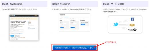 利用規約に同意して「ステップ1 Twitter認証」へ進む