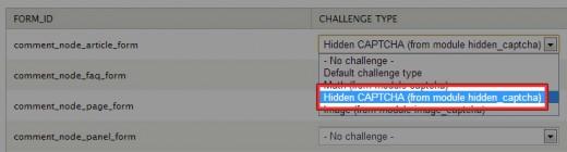Hidden CAPTCHAの設定