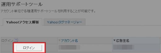 Yahoo!アクセス解析へのログイン