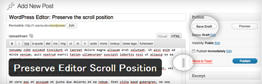 投稿画面のスクロール位置を記憶してくれるWordPressプラグイン「Preserve Editor Scroll Position」
