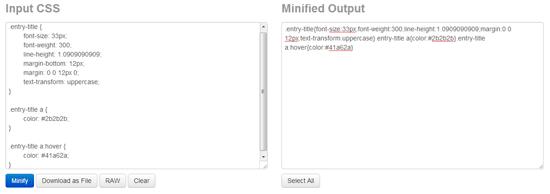 CSSの改行やスペースを削除して軽量化することができる「CSS Minifier」