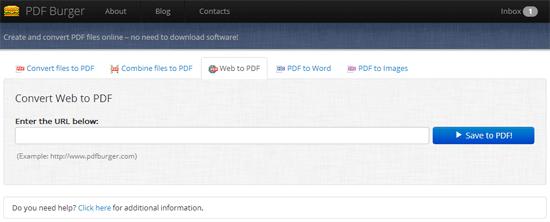 指定したWEBページをPDFに変換してくれるWEBサービス「PDF Burger」
