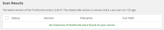 No instances of timthumb were found on your server.