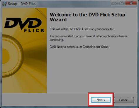 DVDFlickのインストール実行