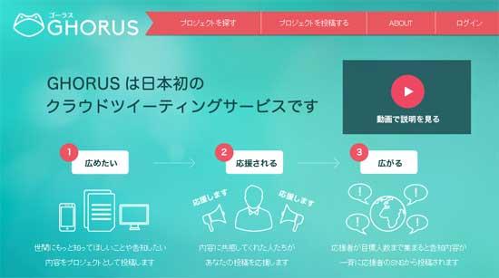 みんなで協力してSNSでプロジェクトを拡散させる「GHORUS(ゴーラス)」