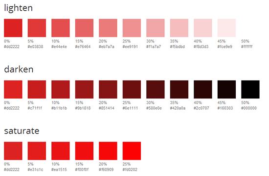 指定したパーセント毎にSass用のカラーチャートを生成してくれる「Sass Color Generator」