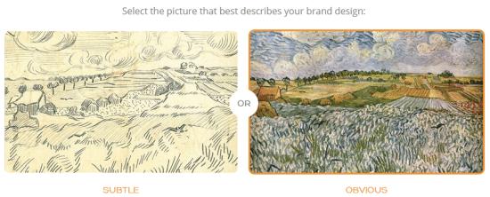 繊細なデザイン(SUBTLE)か明白なデザイン(OBVIOUS)か選択