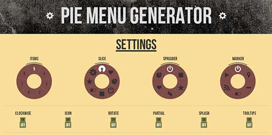 円形のメニューを作成できるジェネレーター「Pie Menu Generator」