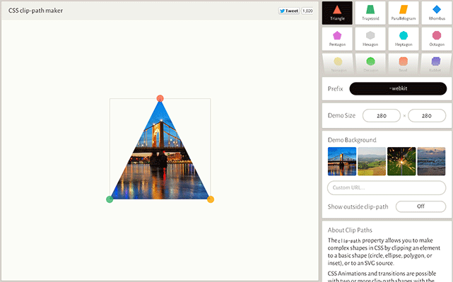 CSSで多角形や楕円形のクリップパスを生成してくれるWEBサービス「Clippy」