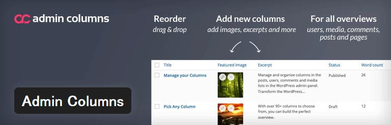 管理画面に表示される項目を並べ替えたり列を追加することができるWordPressプラグイン「Admin Columns」
