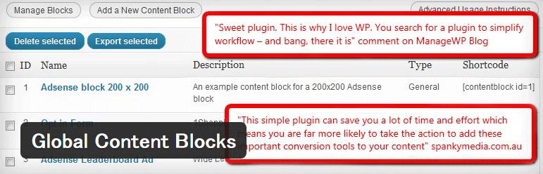 ショートコードを作成・管理することができるWordPressプラグイン「Global Content Blocks」