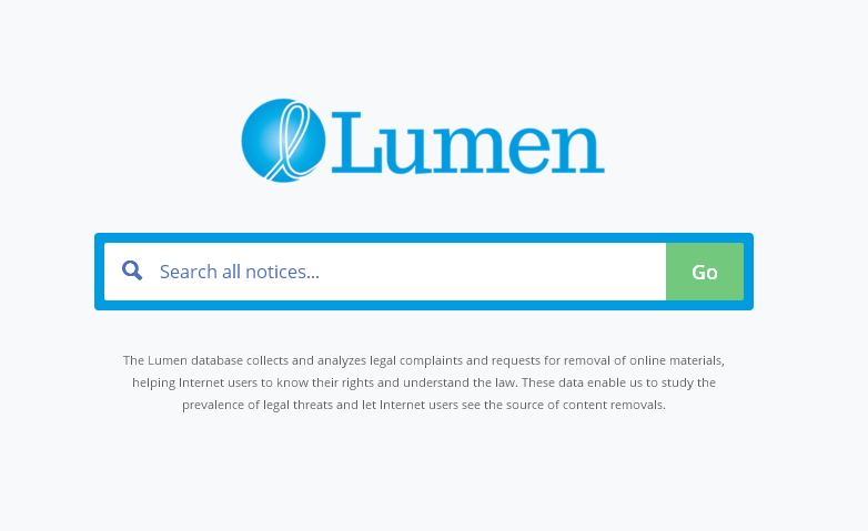 DMCA侵害の報告内容を確認することができる「Lumen」