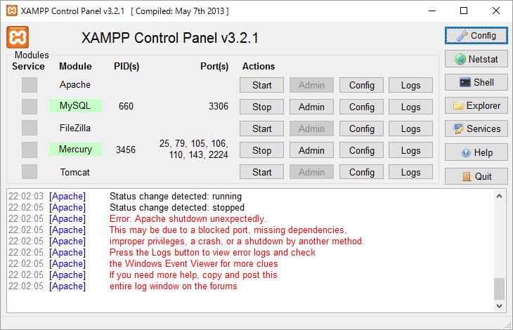 Windows10でXAMPPのApacheが起動できない時の対処法