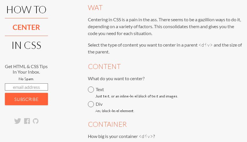 要素を左右・天地中央に配置するためのスタイルを生成してくれる「How to Center in CSS」