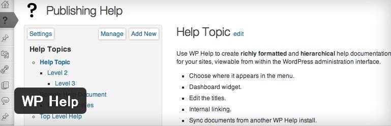 管理画面上に独自のヘルプ画面を作成できるWordPressプラグイン「WP Help」