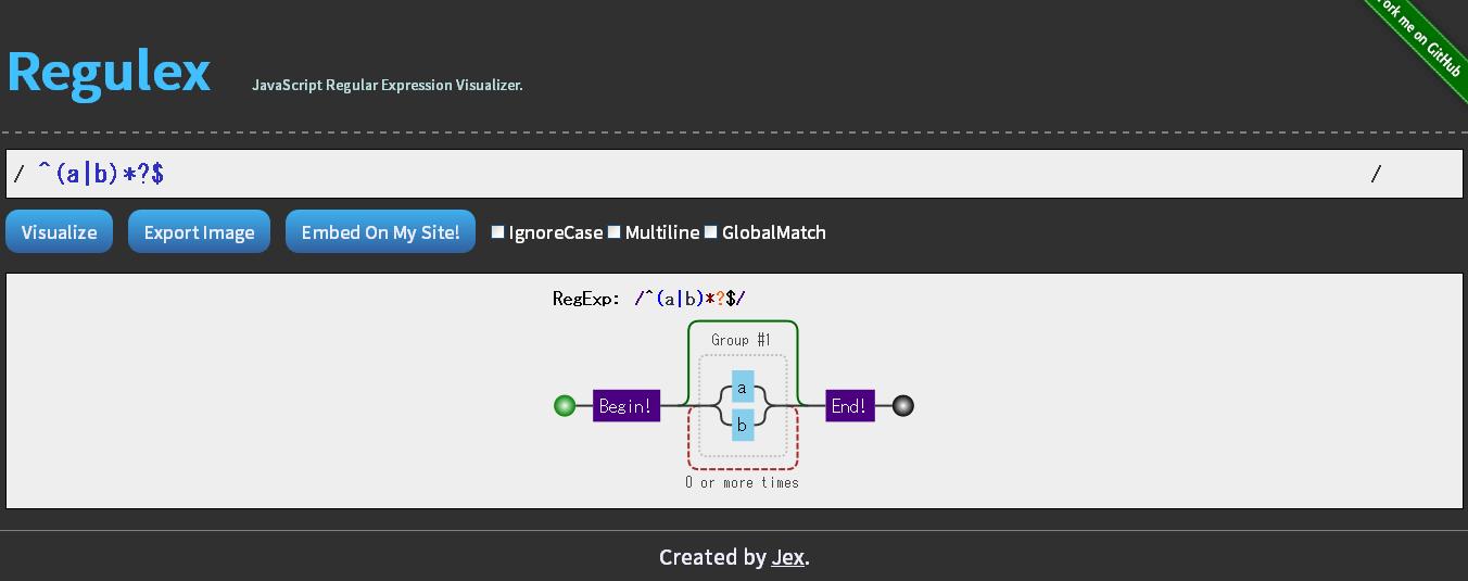 正規表現を図として可視化してくれるWEBサービス「Regulex」