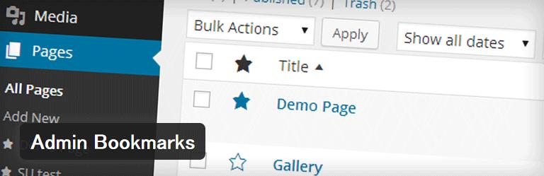 投稿や固定ページをお気に入り登録することができるWordPressプラグイン「Admin Bookmarks」