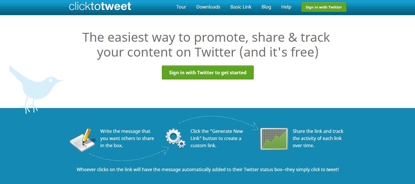 任意の内容のツイートをしてもらうためのリンクを生成することができるWEBサービス「Click to Tweet」