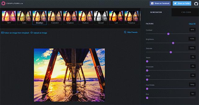 写真にフィルタを加えるためのCSSを出力できるWEBサービス「cssFilters」