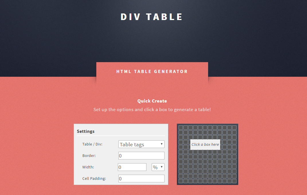 Html html div table generator techmemo for Table with div