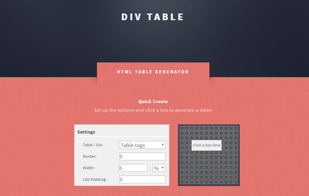 HTMLのテーブルを直感的に作成することができる「HTML Div Table Generator」
