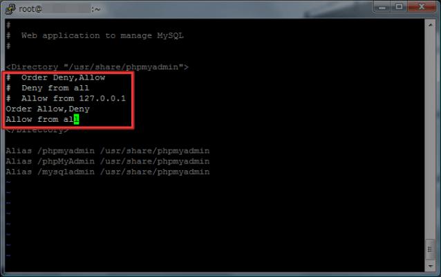 vi /etc/httpd/conf.d/phpmyadmin.conf