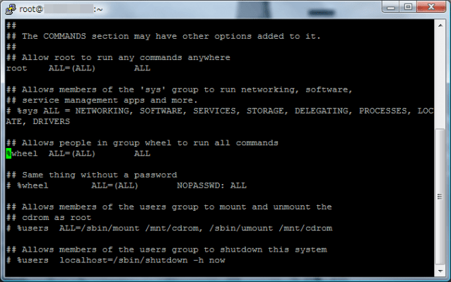 Allows people in group wheel to run all commands