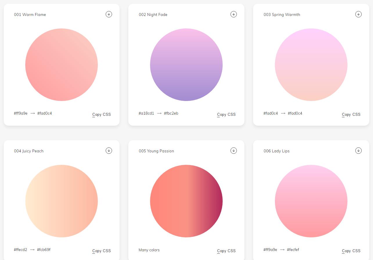 様々なグラデーションがまとめられていて、CSSをコピーしたりPNG画像をダウンロードできる「WebGradients」