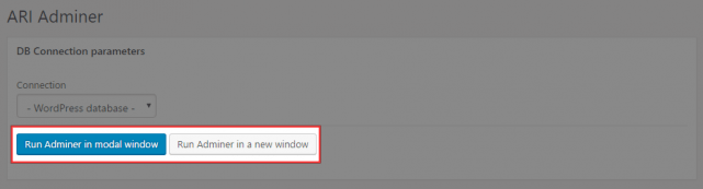 Run Adminer in modal window