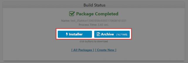 「Installer」と「Archive」の2つのファイルをダウンロード
