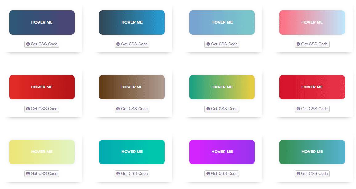 ホバーエフェクト付きのグラデーションボタンのCSSを大量に公開している「Gradient Buttons」