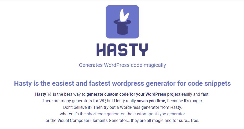 WordPressのカスタム投稿やカスタムタクソノミー等のコードが生成できるWEBサービス「Hasty」