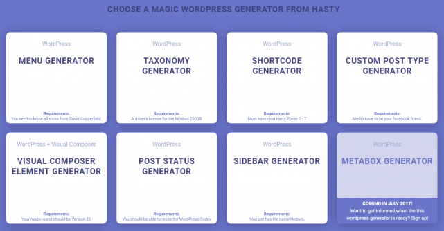 CHOOSE A MAGIC WORDPRESS GENERATOR FROM HASTY