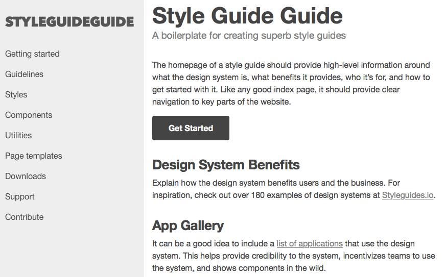 WEBサイトのスタイルガイドを作成するためのHTMLテンプレート「Style Guide Guide」