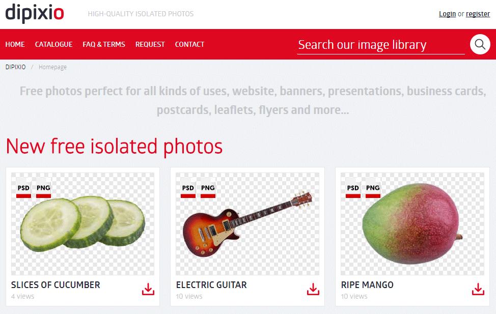 切り抜き画像を集めたフリー画像素材サイト「dipixio」