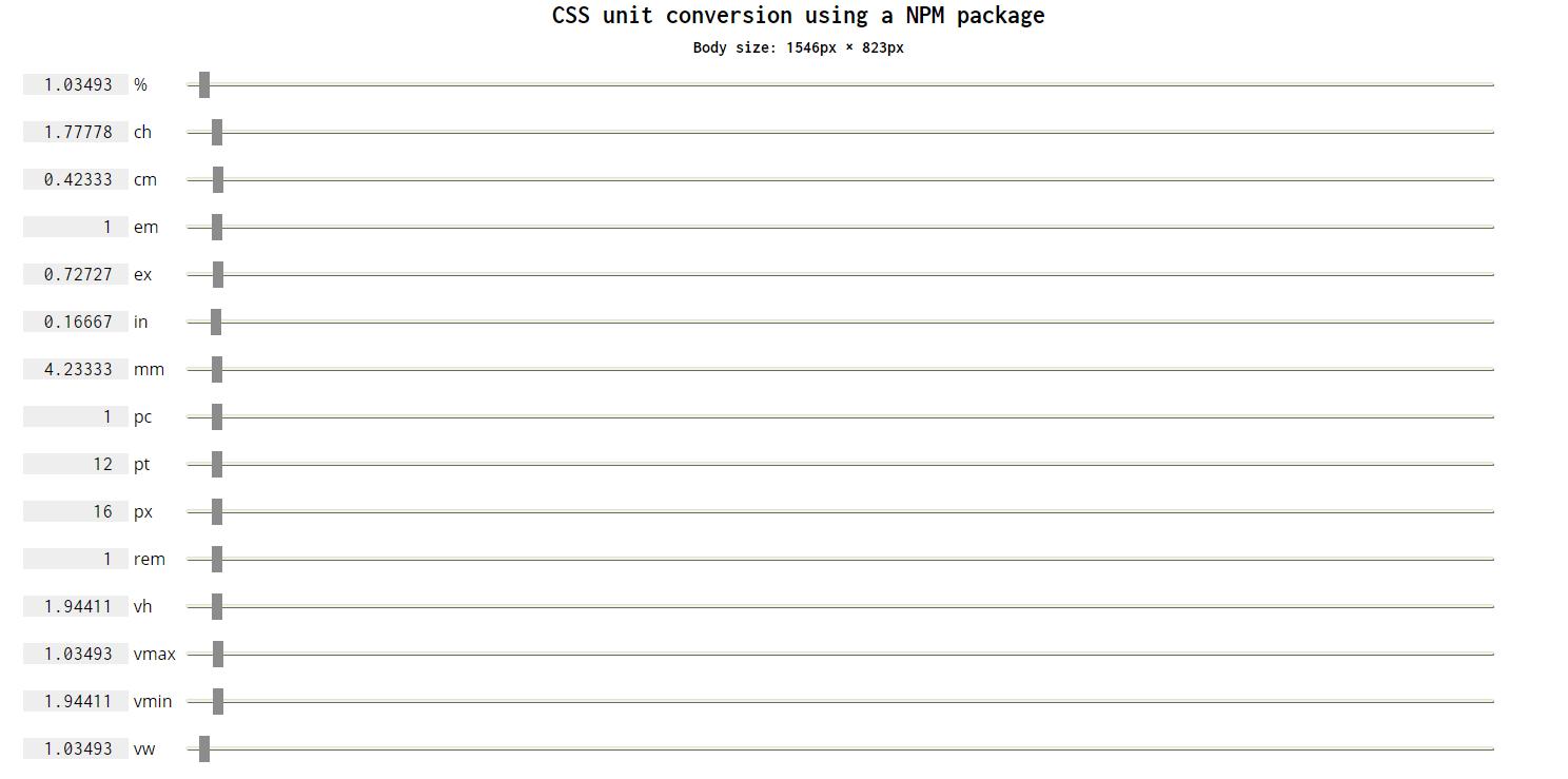 CSSでのpx・%・em・vhなど異なる単位の対応値が確認できるWEBサービス「CSS unit conversion using a NPM package」