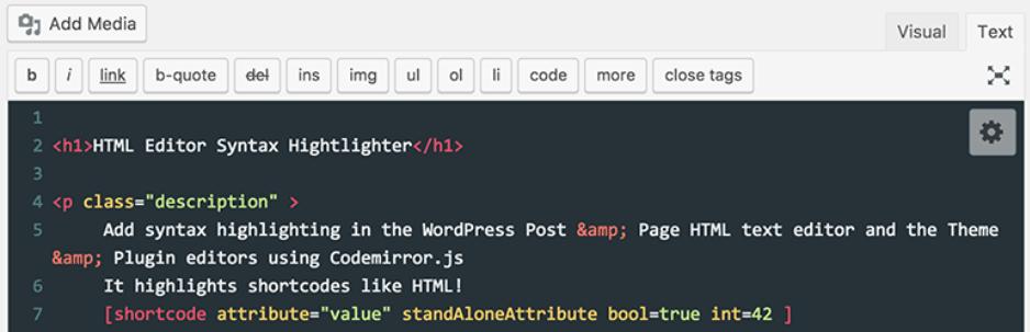テキストエディタを見やすくカスタマイズできるWordPressプラグイン「HTML Editor Syntax Highlighter」