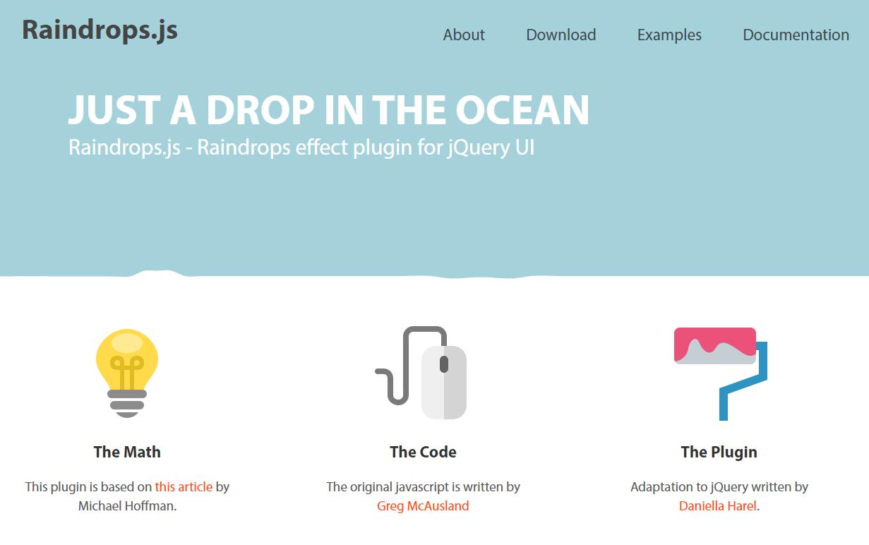 水面が波打っているようなアニメーションを実装できるjQueryプラグイン「Raindrops」