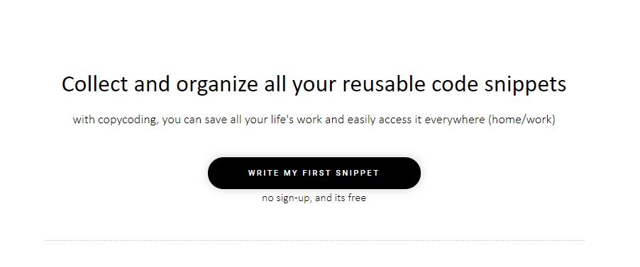 ユーザー登録不要で使えるコードスニペットツール「copycoding」